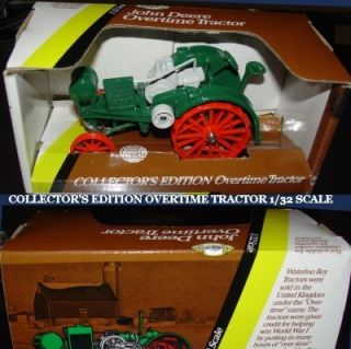 JOHN DEERE FARM TOY COLLECTOR ED. OVERTIME TRACTOR WATERLOO BOY USA