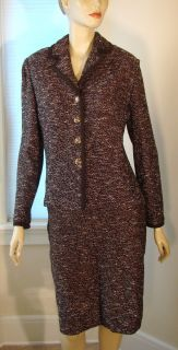 ST JOHN BROWN TWEED MIX KNIT JACKET SKIRT SUIT SJ LOGO BUTTONS LEATHER