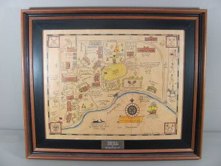 Framed Map of Culver Military Academy Charted by Edw T Payson 1922