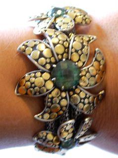 John Hardy 18K Gold Dot Silver Ayu Jasmine Large Bracelet Green Topaz