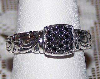 ANGELA BY JOHN HARDY STERLING SILVER BLACK DIAMONIQUE PAVE RING SIZE 7