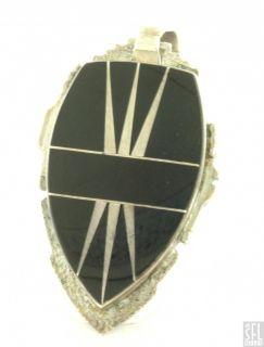 Cecil Ashley Navajo Sterling Silver Fancy Onyx Arrowhead Pendant