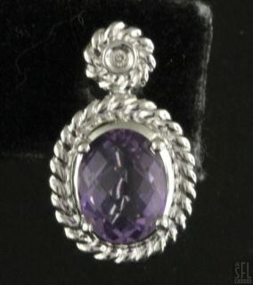14k White Gold Beautiful 4 02ctw Diamond Cushion Cut Amethyst Cable