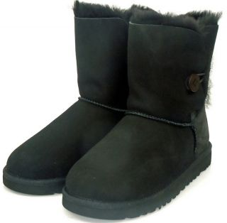 UGG Australia Kids Girls Youth Black Bailey Button Fleece Sheepskin