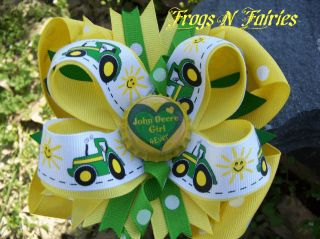 "JOHN DEERE TRACTOR LIME & YELLOW ""JOHN DEERE GIRLS 4EVER HEART"