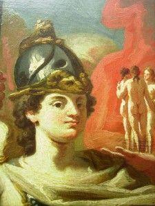 Antique Old Master Classical Oil Painting Britannia