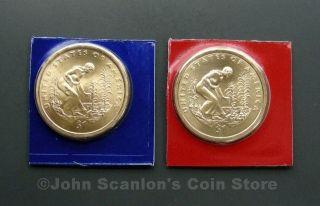 2009 P+D Native American Sacagawea Dollars 2 Coin Set (Mint Plastic