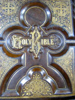 Antique Family Holy Bible Unmarked Steel Plates Leather
