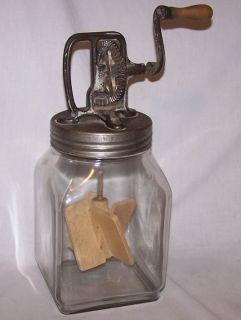 Old Glass Gallon Butter Churn