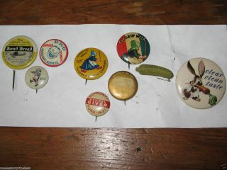 9 Pinback Buttons Advertising Heinz RKO BOND Bread Winnie Mae Cleaners item az55