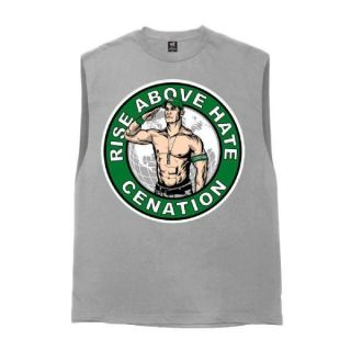 John Cena Rise Above Hate Cut Off Sleeveless WWE Authentic Official T Shirt New