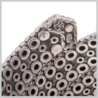 122519 JOHN HARDY WOMENs Dot Nuansa Silver Flat Triple Coil Bracelet Size M