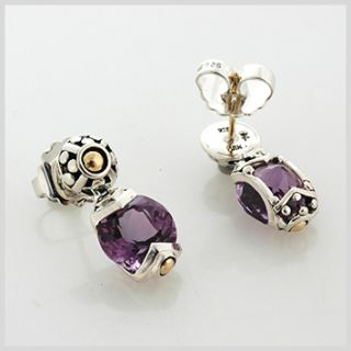113803 JOHN HARDY Batu Sari Silver Amethyst Round Drop Earrings