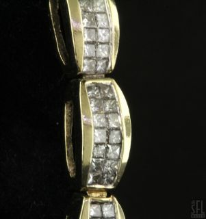14k Gold High Fashion 5 95ct Invisible Set Princess Diamond Link Bracelet