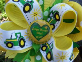 John Deere Tractor Girl 4 Ever Bottlecap Hairbow