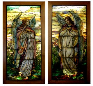 Awesome Pair of 8'H Stained Glass Tiffany Angel Windows