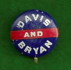 John w Davis Bryan Political Campaign Pinback Button 1924 Democrat Coolidge