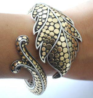 John Hardy 18K Gold Dot Silver Ayu Jasmine Large Bracelet Green Topaz RARE