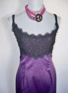 DVF Diane Von Furstenberg Olivette Dress Sz 10 Purple Satin Black Lace Mint