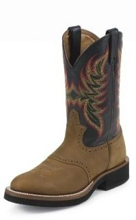 """Justin Mens Brown Black Boots 11"""" Leather 5071"""