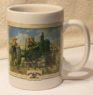 John Deere Mug Vintage Tractor Farmer Fishing Hole Dog Opie Corn Field Turtle EX