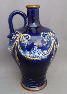 Antique Royal Doulton Blue Flowers Art Nouveau Style Whiskey Flask Flagon Jug