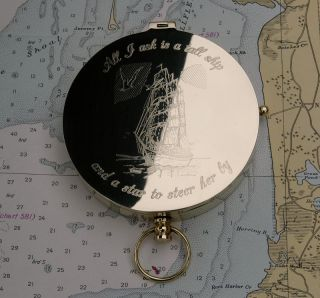 John Masefield Tall Ship Poem Engraved on Large Solid Brass Pocket Compass