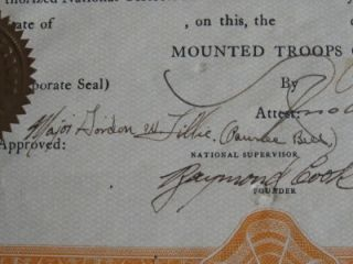 RARE 1931 PAWNEE BILL Signed Mounted Troops of America Document KEN MAYNARD