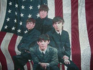 New The Beatles with US American Flag Cotton Afghan Throw Blanket Gift John Paul