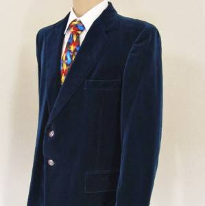 45 R 44 John Peel Solid Navy Blue Velvet Mens 2 Btn Jacket Sport Coat Blazer