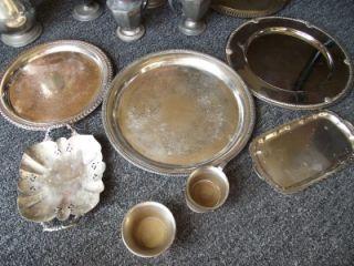 Antique Silver Mixed Lot of Sheffield Tea Set Newburyport Wm Rogers Pot Trays