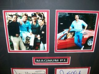 MAGNUM P I Signed Tom Selleck Larry Manetti Roger Mosley John Hillerman FRAMED