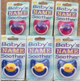 Personalised Slogan Name Soother Dummy Baby Birth Christening Gift s Z