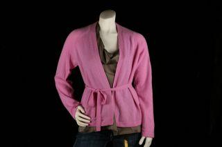 Womens John Patrick Pink Cashmere Sweater Cardigan Sz L