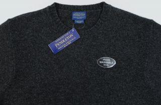 Mens PENDLETON Gray Shetland Wool Crew Neck Sweater Large L NWT NEW