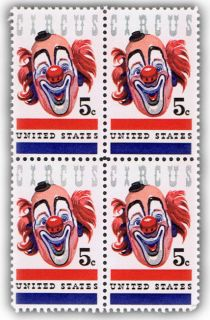 Circus Clown on Postage Stamps from 1966