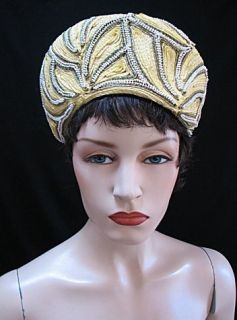 Vintage Hat Yellow Green White Beading Mr John 1208