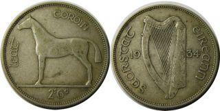 elf Ireland Irish Republic 1 2 Crown 1934 Silver Horse