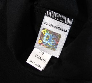 "Dolce Gabbana ""Double Waistband"" R Neck T Shirt Stretch Cotton D G Black"