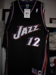 Champion John Stockton Utah Jazz Road Authentic NBA Jersey Size XL 48 Malone
