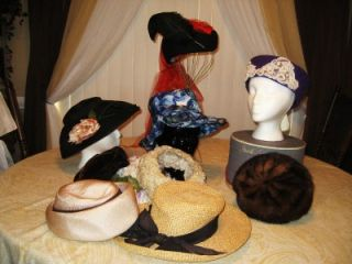 10pc Vintage Hat Lot Mr John Norman Durand Parkridge Miss Lynn Marche' Hat Box