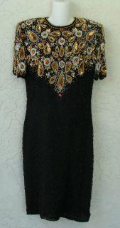 Mark John by Sam Black Evening Dress Sequin Beads Rhinestones Sz L Pure Silk