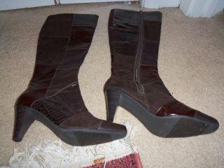 JOHN ROMAINE Womens brown animal print knee high boots DESTINY size 7 M NEW