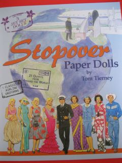 New Stopover Airline Hostess Pilot Tom Tierney Paper Dolls w World Costumes