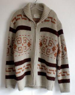 PENDLETON Wool Cardigan Sz L Zip Big Lebowski Sweater Cowichan 70s Vtg