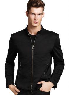 JOHN VARVATOS Mens Black Cotton Zip Jacket Large L 498