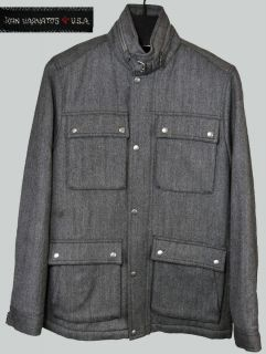 JOHN VARVATOS STAR USA Wool Jacket Coat Gray Herringbone Weave New 698 Mens L