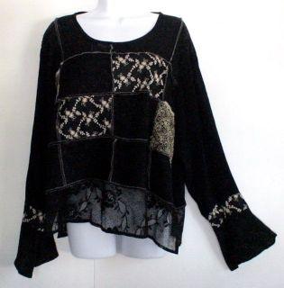 SPENCER ALEXIS Black Rayon Jacquard Floral Shirt Top Lace Sz 16