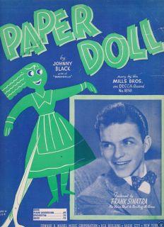 Paper Doll by Johnny Black Sheet Music John Stewart Black 1942