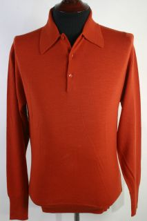 NWT New John Smedley Merino Wool Polo Sweater S Burnt Orange England